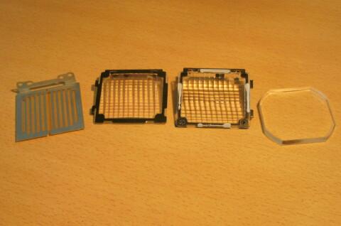 Die Linsen / Filter aus dem Beamer
