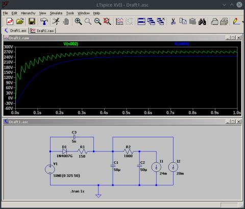 Screenshot aus LTSpice mit Schaltplan und Simulationsergebnis