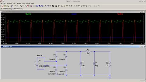 LTSpice Simulation des Netzteils, erste Version