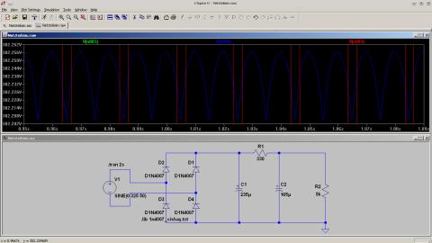 LTSpice Simulation des Netzteils, zweite Version