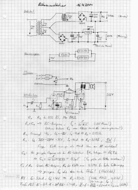 Schaltplan der ersten Version des Röhrenverstärkers